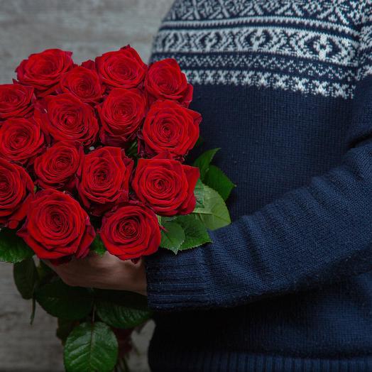 Букет из 15 красных роз, длина 60 см: букеты цветов на заказ Flowwow