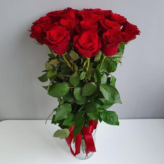 15 красных роз 40 см
