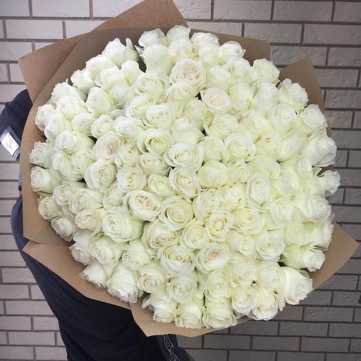 101 крупная белая роза
