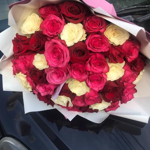 51 Роза в оформлении(МИКС)