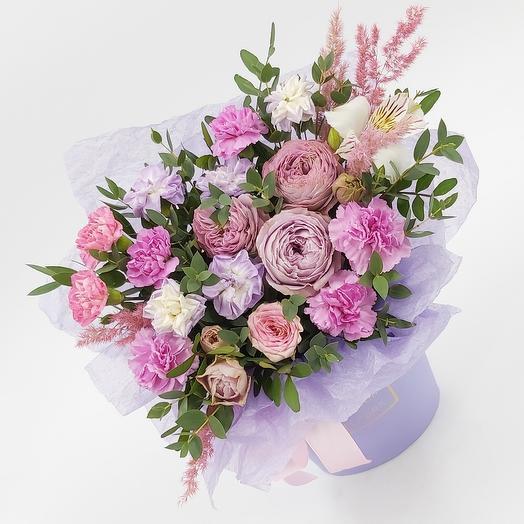 Цветы в коробке Сиреневый каприз