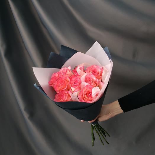 """Букет""""9 розовых роз"""""""