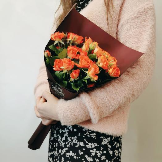 """Букет """"Апероль 7"""" из оранжевых кустовых роз"""