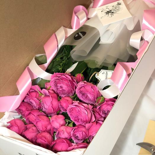 Пионовидная Роза в коробке BOX