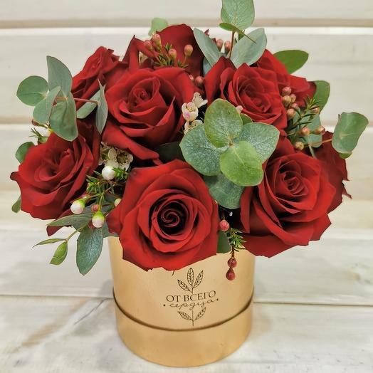 """Розы в шляпной коробке """"От всего сердца"""""""