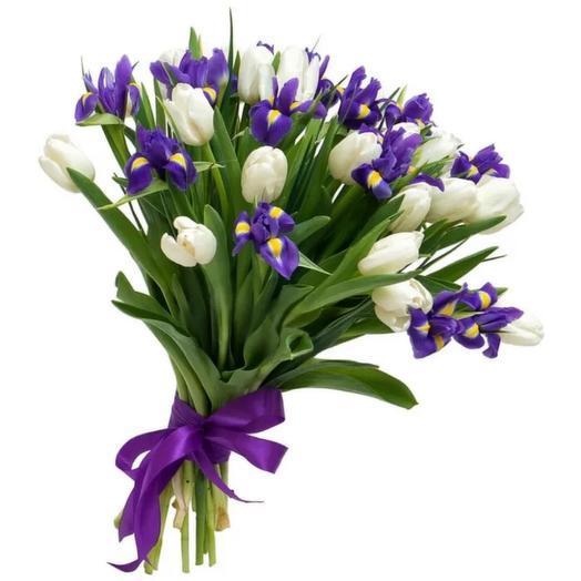 Букет ирис+тюльпан
