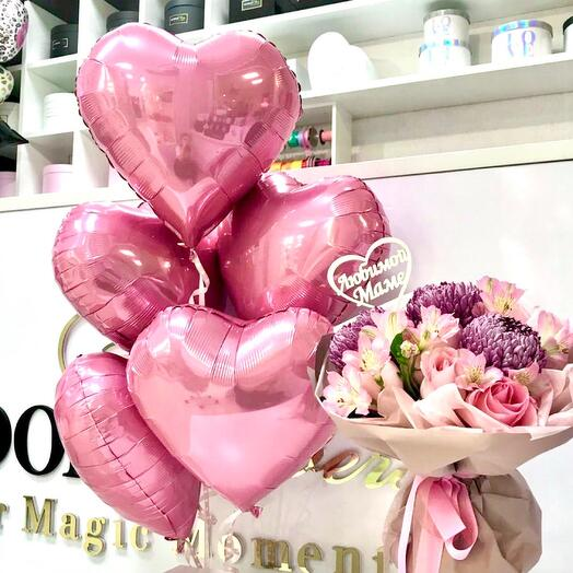 Охапка розовых шаров-сердечек(5шт)