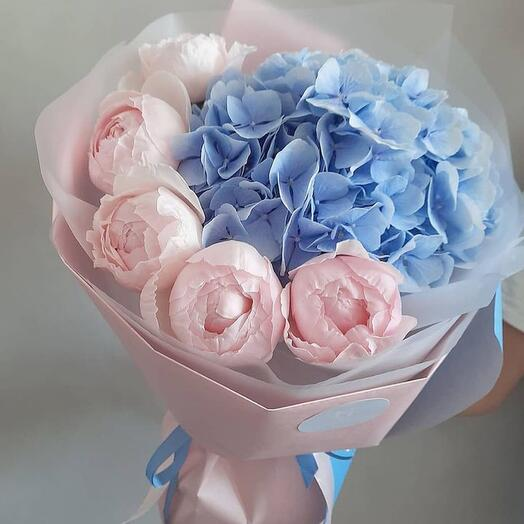 Peonies 5 pcs France and two hydrangeas Italy