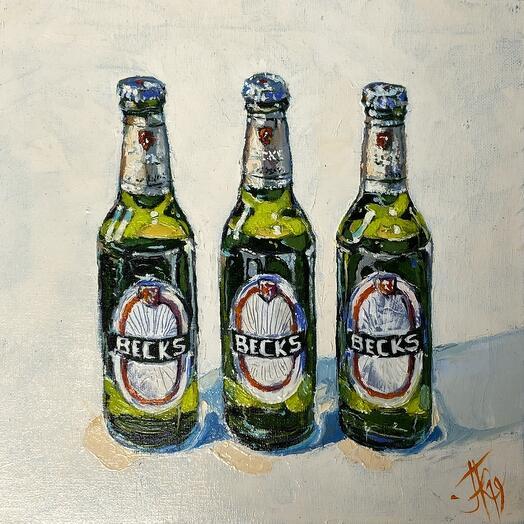 """Картина """"3 пива"""" 30*30 см. масло, холст"""