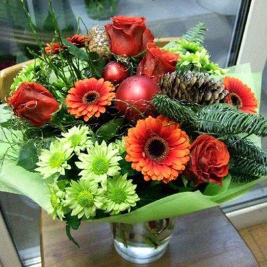 Новогодний букет Mirac e: букеты цветов на заказ Flowwow