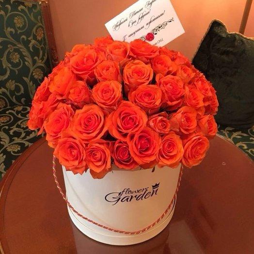ШЛЯПНАЯ КОРОБКА XL РОЗЫ WOW  WHITE: букеты цветов на заказ Flowwow