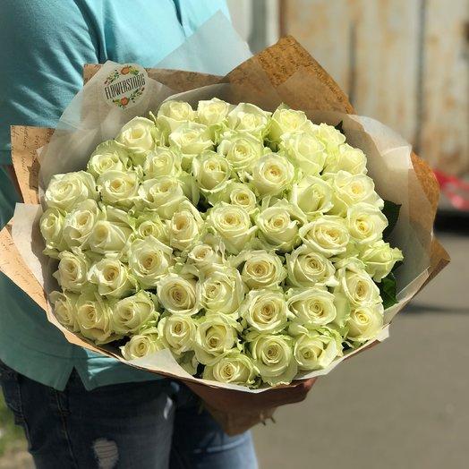 Монобукет. Розы белые. Букет из 51 белых роз. 50 см. N160: букеты цветов на заказ Flowwow