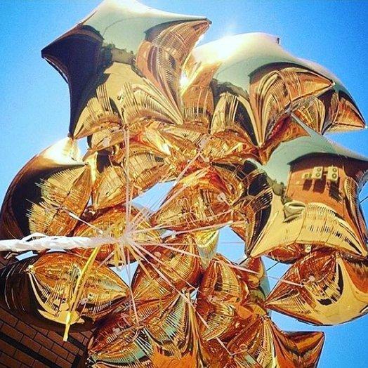 """Воздушные шары """"Золотые звезды"""": букеты цветов на заказ Flowwow"""