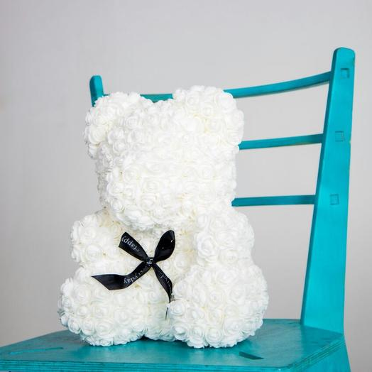 Белый Мишка из роз: букеты цветов на заказ Flowwow