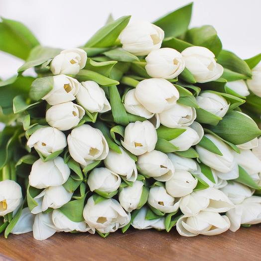 51 белый тюльпан в букете