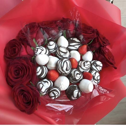 Клубничный букет «Красный браслет»: букеты цветов на заказ Flowwow