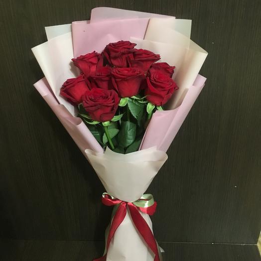 Букет из 9 красных роз ( 50 см): букеты цветов на заказ Flowwow