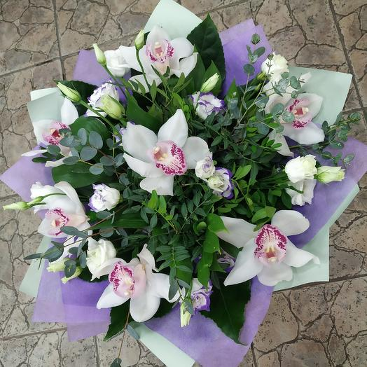 """Bouquet with Orchid """"the White clouds"""": flowers to order Flowwow"""