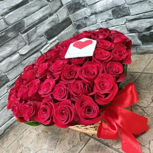 51 роза в сердце