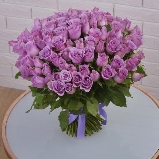 Букет 101 Сиреневая Роза