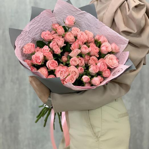 Bouquet of rose Bush peony roses