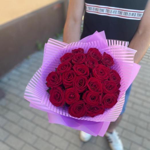 Букет «Яркий» 21 Роза Red Naomi