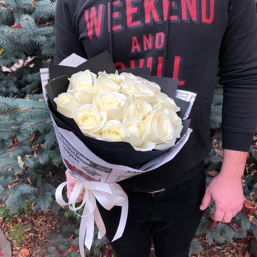Rosalina - 15 белых роз 50 см