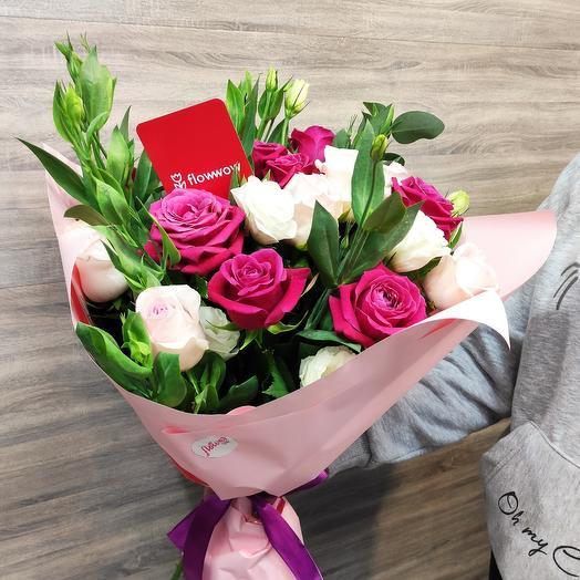 ✅ Авторский букет из роз в стильной упаковке 15 роз