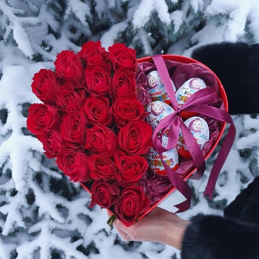 "Розы в коробке сердце ""Сюрприз"""