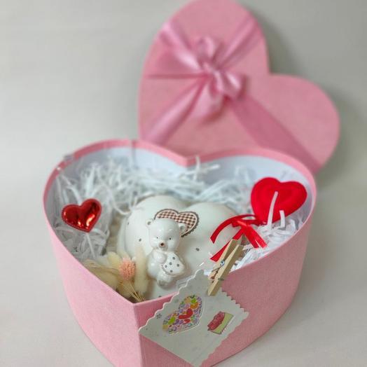 Шкатулка- сердце с мишкой ( керамика)