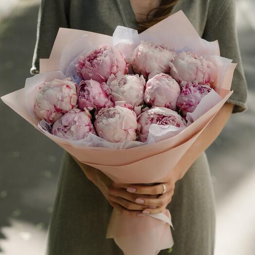 Букет из розовых пионов 113