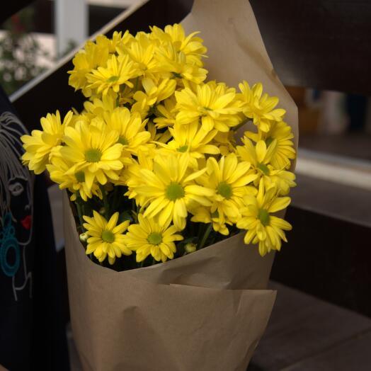 Букет Желтых Кустовых Хризантем