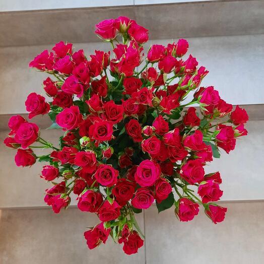 Букет из 17 кустовых роз 60см