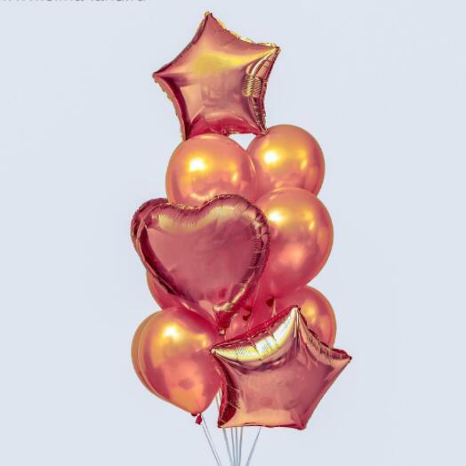"""Набор шаров """"Сердца и звезды"""", латекс, фольга, набор 14 шт"""