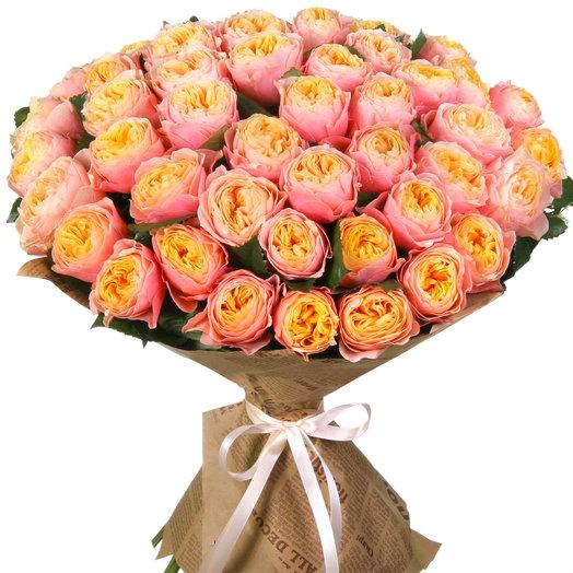 Букет из 51 пионовидной розы: букеты цветов на заказ Flowwow