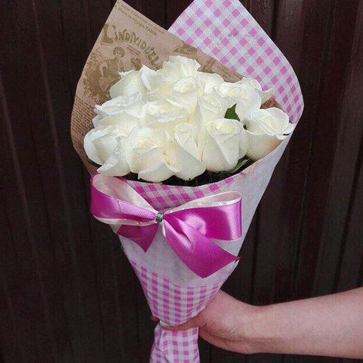 Букетик из 15-ти белых роз: букеты цветов на заказ Flowwow