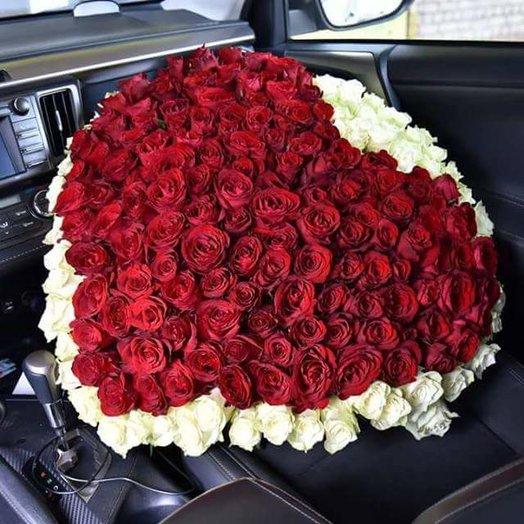 The 201 XL bouquet of roses in heart shape: flowers to order Flowwow