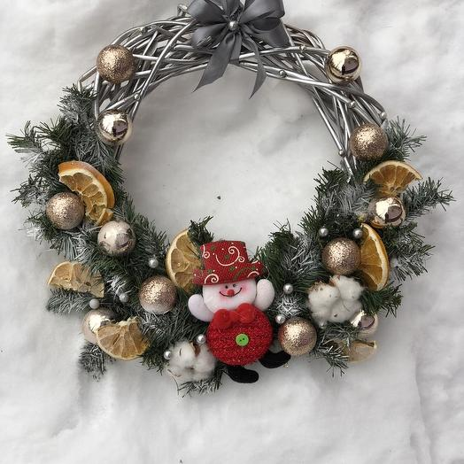 "Christmas wreath ""the Snowman"": flowers to order Flowwow"
