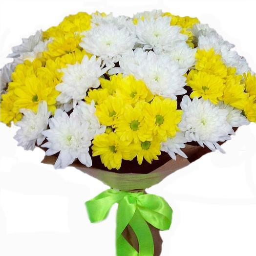 11 белых и желтых хризантем