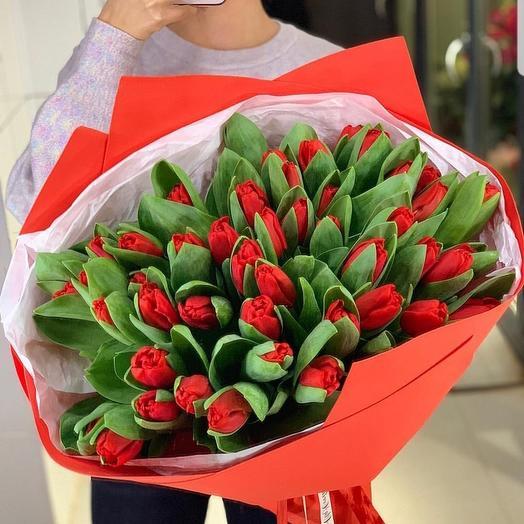 Букет из 51 тюльпанов гигантов: букеты цветов на заказ Flowwow