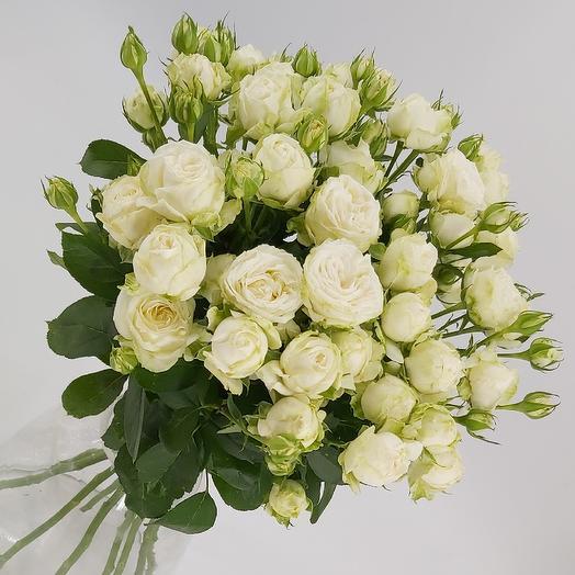 9 пионовидных кустовых роз Бомбастик