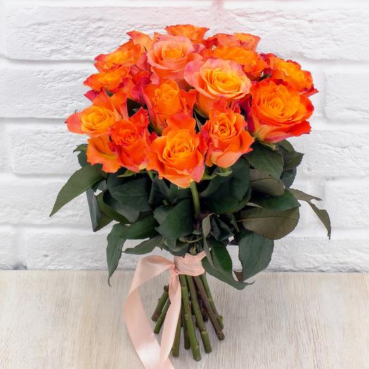 15 оранжевых роз 40 см