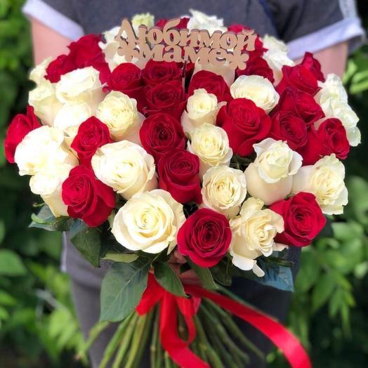 51 роза Эквадор 60 см и топпер