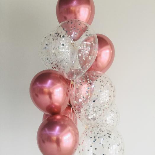 Гелиевые воздушные шары хром с шарами конфетти