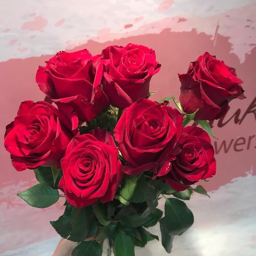 7 roses under the ribbon