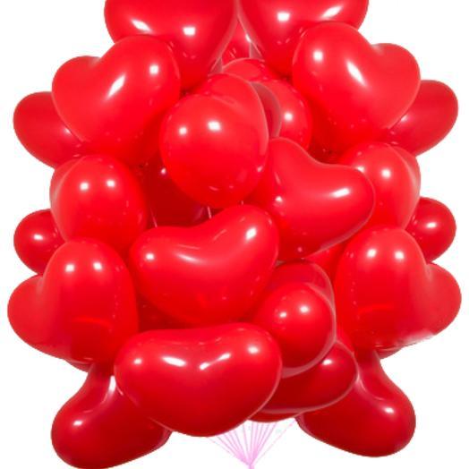 Красные шары в форме сердца 25 шт