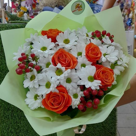 Микс хризантем и роз