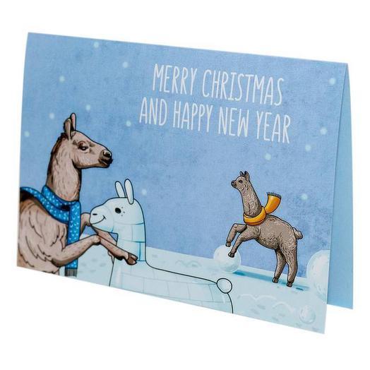 "Открытка BeLucky ""Лама Merry Christmas"""