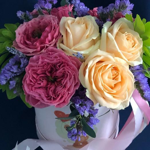 Цветы в коробке Нежность Джульеты