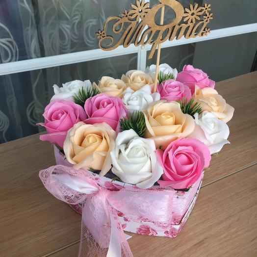 Цветы розы из мыла